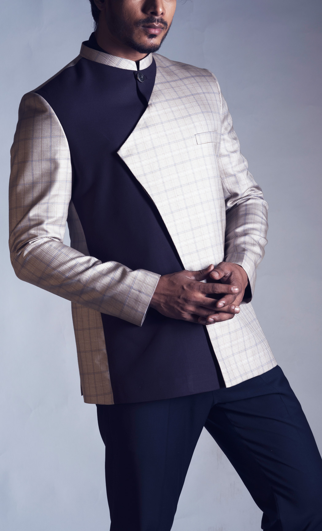 Dual Textured Prince Coat with Navy Trousers