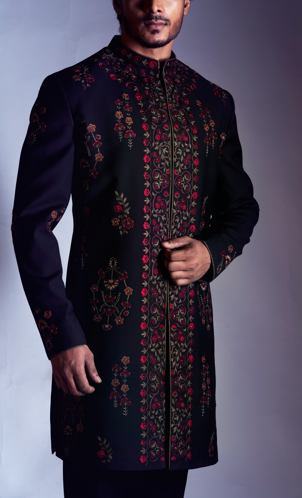 Black Embroidered Sherwani and Trousers