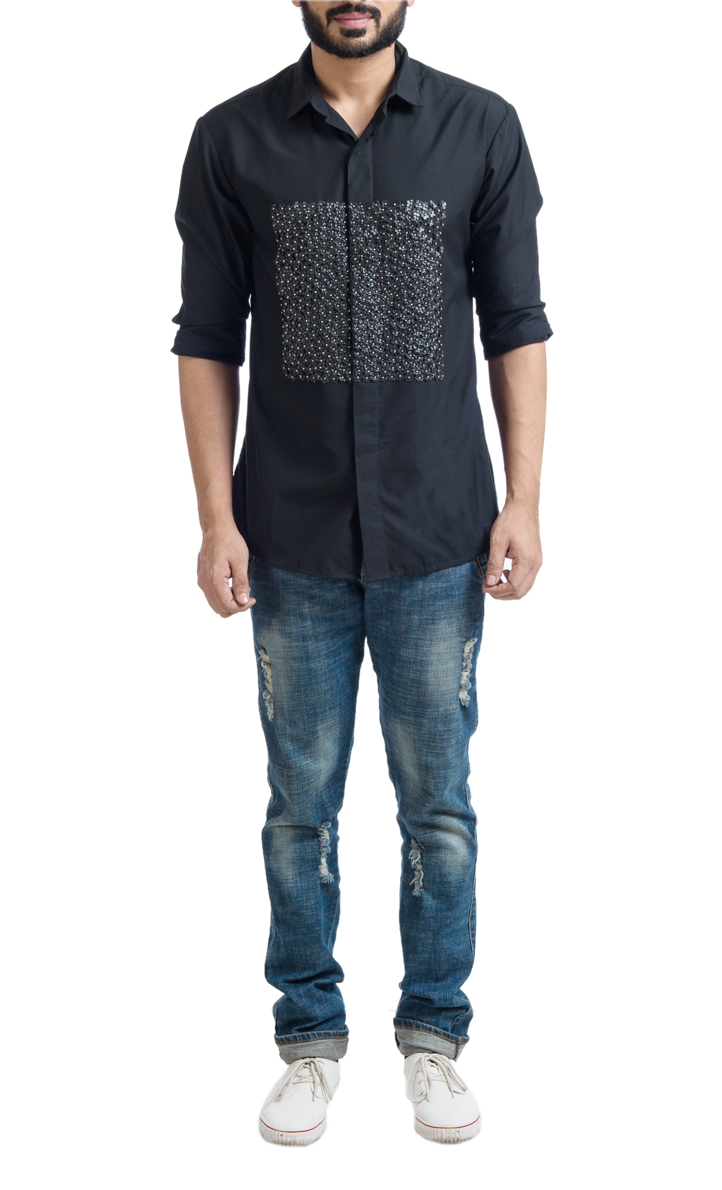 Black Cotton Shirt with Floral Metal Applique